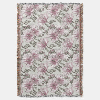 Muted Pink Hibiscus Flowers Pattern Throw Blanket