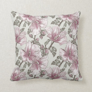 Muted Pink Hibiscus Flowers Pattern Throw Pillow