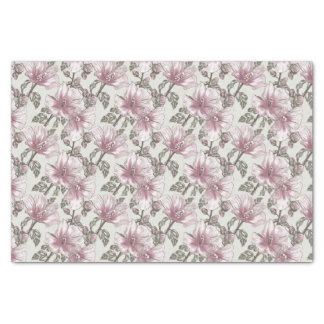 Muted Pink Hibiscus Flowers Pattern Tissue Paper