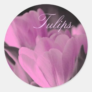 Muted Pink Tulips Round Sticker