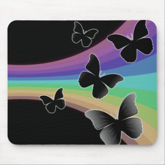 Muted Rainbow Butterflies on Black Mouse Pad