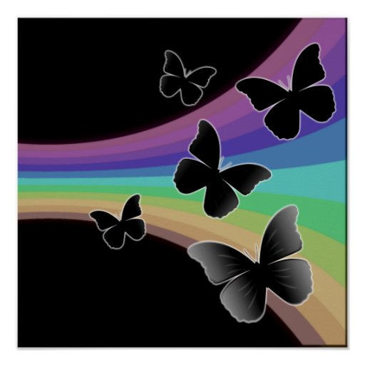 Muted Rainbow On Black - Butterflies Poster