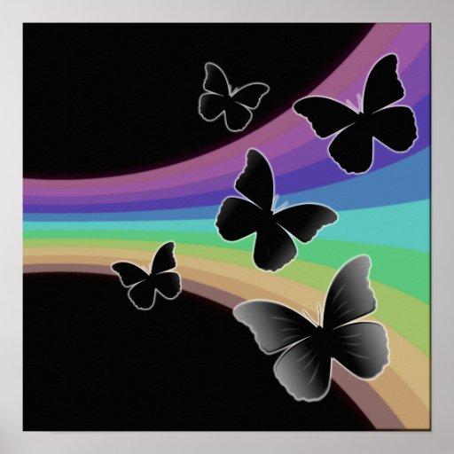 Muted Rainbow On Black - Butterflies Print