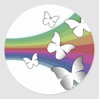 Muted Rainbow On White - Butterflies Classic Round Sticker
