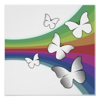 Muted Rainbow On White - Butterflies Posters