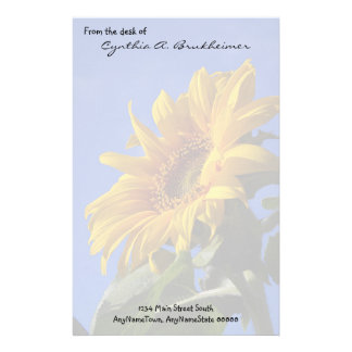Muted Yellow Sunflower Personalized Stationery