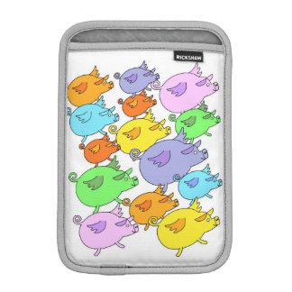 Muti-colored flying pigs iPad mini sleeve