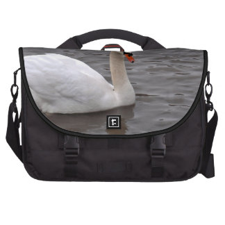 Mutre Swan on a Grey Lake Laptop Bags