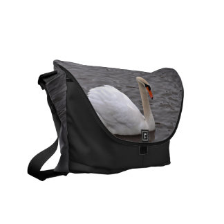 Mutre Swan on a Grey Lake Courier Bags