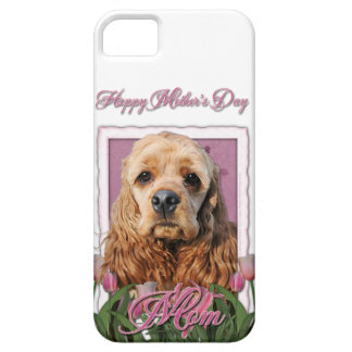 Mutter-Tag - rosa Tulpen - Cocker spaniel iPhone 5 Cases