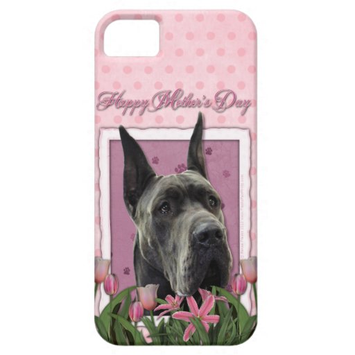 Mutter-Tag - rosa Tulpen - Deutsche Dogge - Grau iPhone 5 Covers