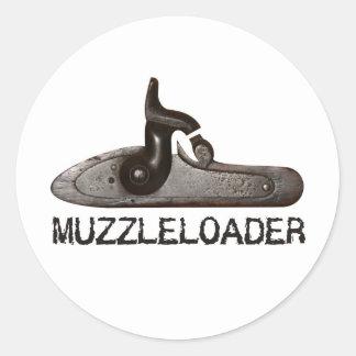Muzzleloader breech & hammer, black powder rifle classic round sticker
