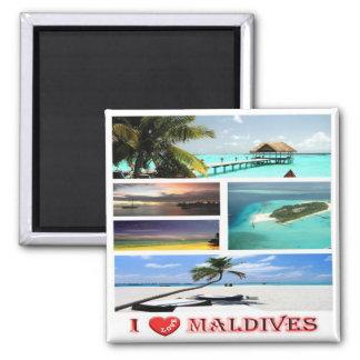 MV - Maldives - I Love - Collage Square Magnet