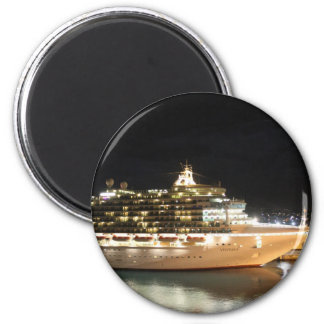 MV Ventura Cruise Ship at Night 6 Cm Round Magnet