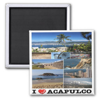 MX - Mexico - Acapulco - I Love - Collage Square Magnet