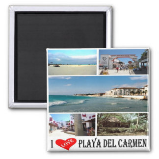 MX - Mexico Playa Del Carmen I Love Collage Mosaic Square Magnet