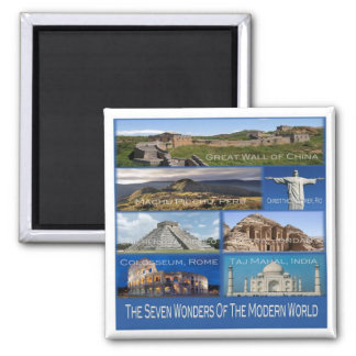 MX * The Seven Wonders Of The Modern World Square Magnet