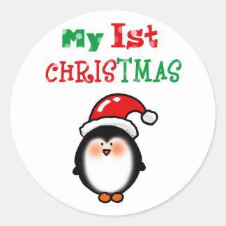 My 1st Christmas (baby Santa penguin) Round Sticker