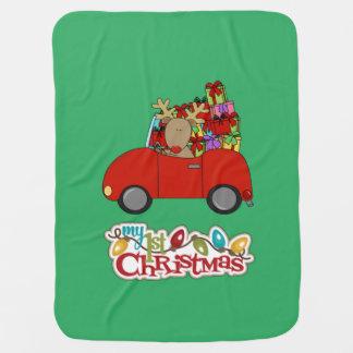 My 1st Christmas Driving Reindeer Baby Blanket