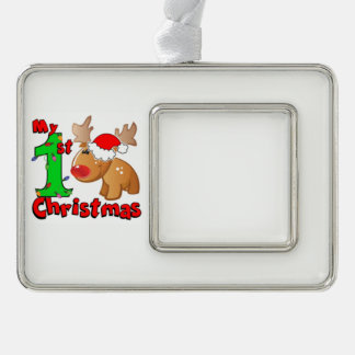 My 1st Christmas Reindeer Silver Plated Framed Ornament