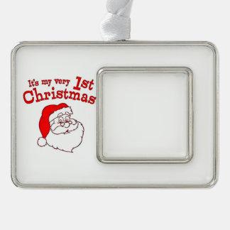 My 1st Christmas Santa Silver Plated Framed Ornament