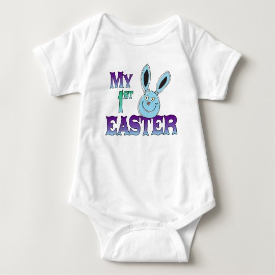 My 1st Easter Blue Bunny Baby Bodysuit