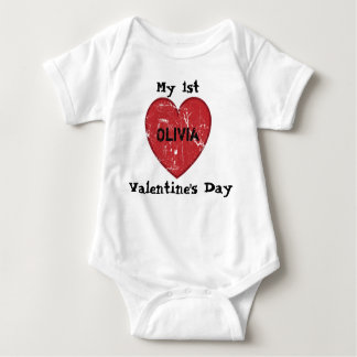 My 1st Valentine's Day Personalised Name Baby Bodysuit