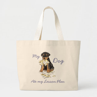 My Airedale Ate My Lesson Plan Jumbo Tote Bag