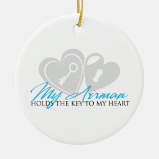 My Airman Holds the Key to my Heart Round Ceramic Decoration