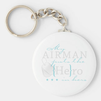 My Airman puts the He in Hero Basic Round Button Key Ring