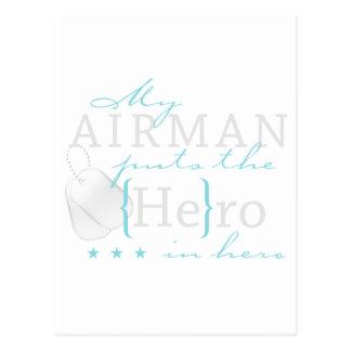 My Airman puts the He in Hero Postcard