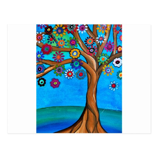 MY ALLY TREE OF LIFE WHIMSICAL PAINTING POSTCARD