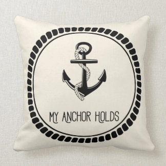 My Anchor Holds Decorative Pillow (Black & Ivory)