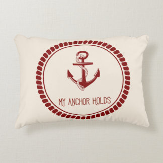 My Anchor Holds Throw Pillow (Red & Ivory)