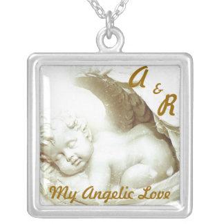 My Angelic Love Neckace Charm-Customize Square Pendant Necklace