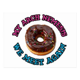 My arch nemesis...the evil doughnut! postcard
