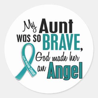 My Aunt Is An Angel 1 Ovarian Cancer Round Sticker