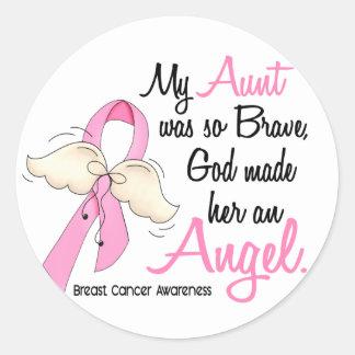 My Aunt Is An Angel 2 Breast Cancer Round Sticker