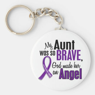 My Aunt Is An Angel Pancreatic Cancer Basic Round Button Key Ring