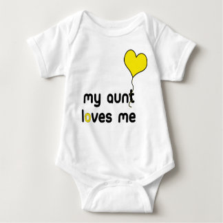 My Aunt loves me yellow Heart Balloon Baby Bodysuit