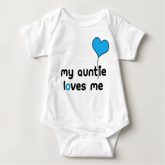 My Auntie loves me Bright Blue Heart Balloon Baby Bodysuit