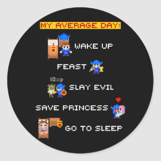 My Average Day (8-bit RPG) Round Sticker