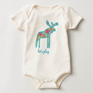 My baby: a colorful galactic moose, let's play baby bodysuit