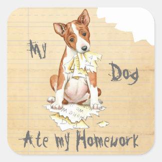 My Basenji Ate My Homework Square Sticker