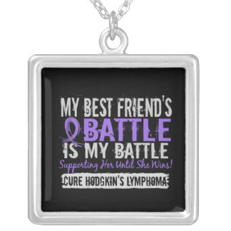 My Battle Too 2 Best Friend Female Hodgkins Lympho Silver Plated Necklace