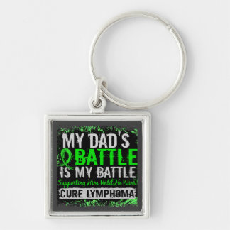 My Battle Too 2 Lymphoma Dad Silver-Colored Square Key Ring