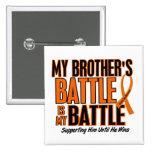 My Battle Too Brother Leukaemia 15 Cm Square Badge
