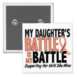 My Battle Too Daughter Uterine Cancer 15 Cm Square Badge