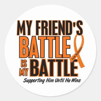 My Battle Too Friend Leukemia Classic Round Sticker