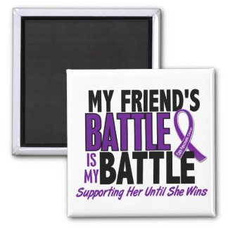My Battle Too Friend Pancreatic Cancer Square Magnet